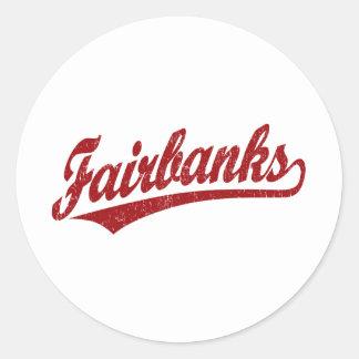 Fairbanks script logo in red classic round sticker