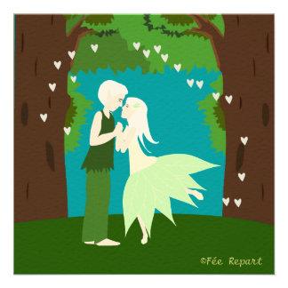 Faire-part mariage couple d elfes cœur forêt