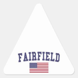 Fairfield CA US Flag Triangle Sticker