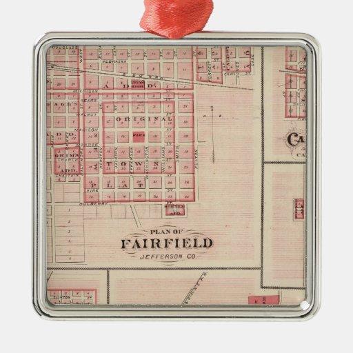 Fairfield, Carroll, Birmingham, Dunlap Adorno Cuadrado Plateado