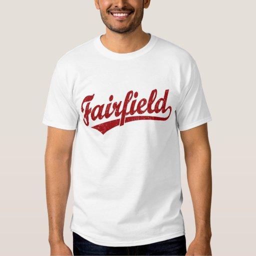 Fairfield script logo in red t shirts