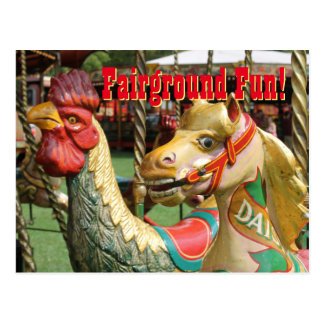 Fairground Fun! Vintage Rides, Rooster and Pony Postcard