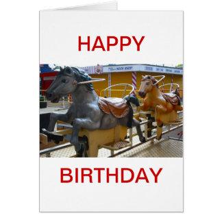 Fairground Horse Ride Happy Birthday Card