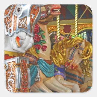 Fairground Horses Square Sticker