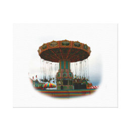 Fairgrounds Swings Stopped Against Grey sky Canvas Print