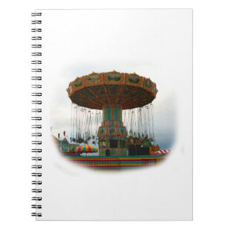 Fairgrounds Swings Stopped Against Grey sky Spiral Notebook
