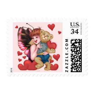 "FAIRIE AND BEAR LOVE Small 1.8"" x 1.3"" Postage"