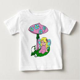 Fairie girl with Mushroom Baby T-Shirt