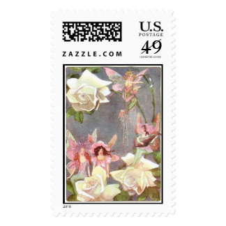 Fairies and flowers  postage stamp