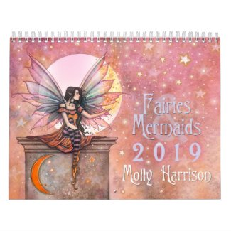 Fairies and Mermaids 2019 Wall Calendar Molly H