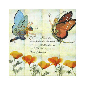 Fairies and Poppy's Picture w/ LM Montgomery quote Canvas Print