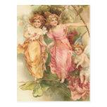 """Fairies and Roses"" Vintage Postcard"
