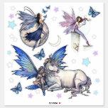 Fairies and Unicorn Stars Moon Fantasy Art Sticker