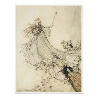 Fairies away, 1908, Vintage Fairy Art Poster