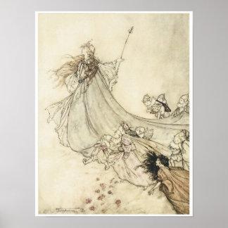 Fairies away, 1908, Vintage Fairy Art Poster