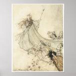 Fairies away, 1908, Vintage Fairy Art Posters