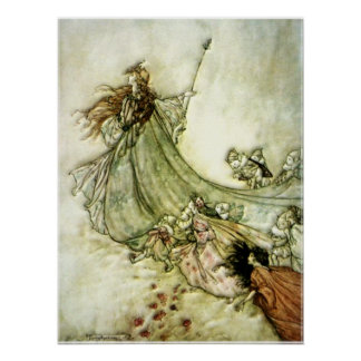 Fairies Away - Arthur Rackham Poster