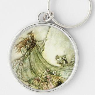 Fairies Away - Arthur Rackham Silver-Colored Round Keychain