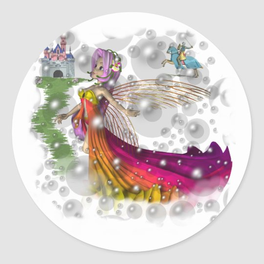 Fairies,Castles,Knights Classic Round Sticker