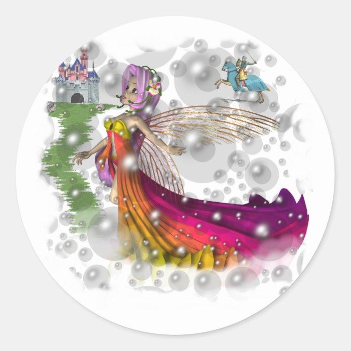 Fairies,Castles,Knights Classic Round Sticker