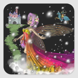 Fairies,Castles,Knights Square Sticker