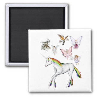 Fairies Color the Unicorn Refrigerator Magnets