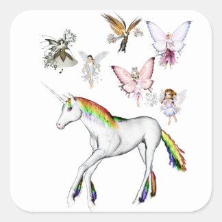 Fairies Color the Unicorn Square Sticker
