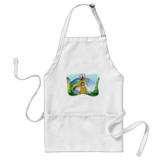 Fairies flying around the castle adult apron