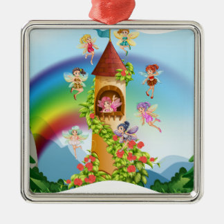 Fairies flying around the castle metal ornament