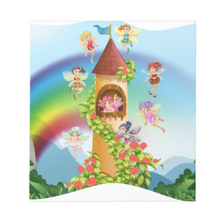 Fairies flying around the castle notepad