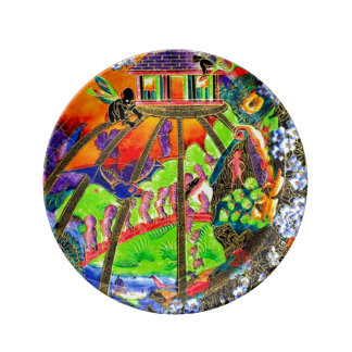 Fairies Imps Fairy Land Lustre Antique Vase Art Dinner Plate