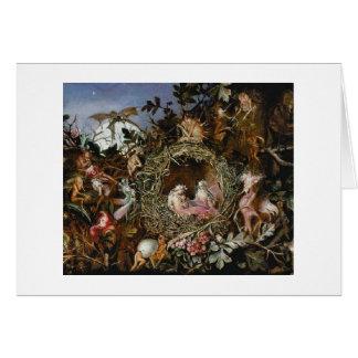 Fairies in a Bird's Nest (Blank Inside) Card