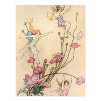Fairies Jumping on Flowers Postcard