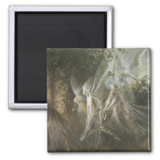 Fairies Looking Through A Gothic Arch,1864 2 Inch Square Magnet