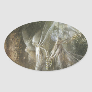 Fairies Looking Through A Gothic Arch,1864 Oval Sticker