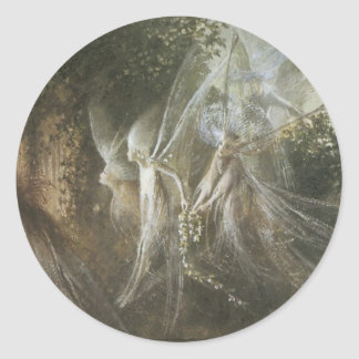 Fairies Looking Through a Gothic Arch by John Anst Classic Round Sticker