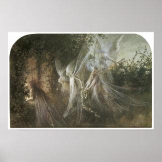 Fairies Looking Through a Gothic Arch, c. 1864 Poster