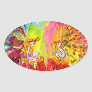 FAIRIES OF DAWN, Colorful Fantasy Oval Sticker