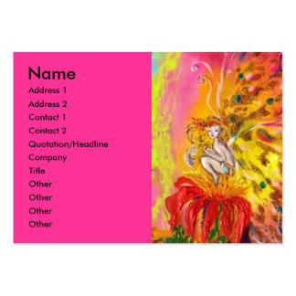 FAIRIES OF DAWN / MAGIC SPARKLES IN FUCHSIA GOLD LARGE BUSINESS CARDS (Pack OF 100)