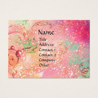 FAIRIES OF DAWN / MAGIC SPARKLES IN PINK GOLD TEAL BUSINESS CARD