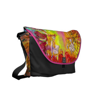 FAIRIES OF DAWN , red yellow blue pink purple Messenger Bag
