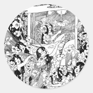 Fairies of Peaceful Slumber Classic Round Sticker