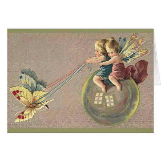 Fairies Riding a Bubble Card