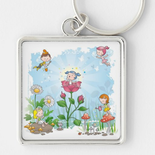 Fairies Silver-Colored Square Keychain