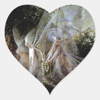 Fairies Watching At Forest Edge Heart Sticker