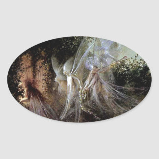 Fairies Watching At Forest Edge Oval Sticker
