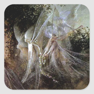 Fairies Watching At Forest Edge Square Sticker