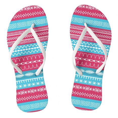 Fairisle look pink and blue sewing stitches flip flops
