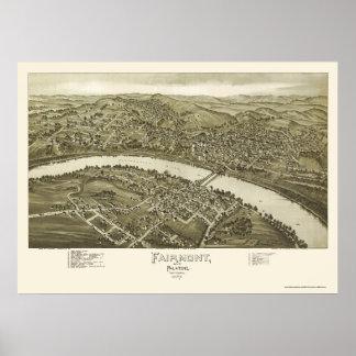 Fairmont, mapa panorámico de WV - 1897 Póster