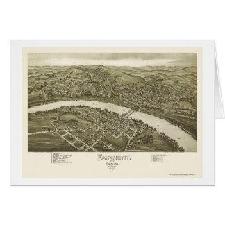 Fairmont, mapa panorámico de WV - 1897 Tarjeta De Felicitación